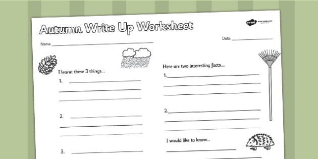 Autumn Write Up Worksheet - seasons, weather, writing, write
