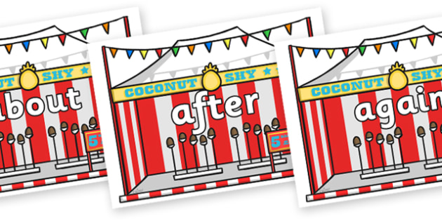 KS1 Keywords on Fairground Coconut Stands - KS1, CLL, Communication language and literacy, Display, Key words, high frequency words, foundation stage literacy, DfES Letters and Sounds, Letters and Sounds, spelling
