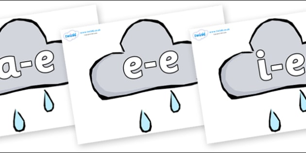 Modifying E Letters on Weather Symbols (Rain) - Modifying E, letters, modify, Phase 5, Phase five, alternative spellings for phonemes, DfES letters and Sounds