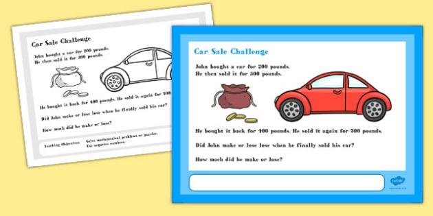 Car Sale Maths Challenge A4 Display Posters - challenge, display