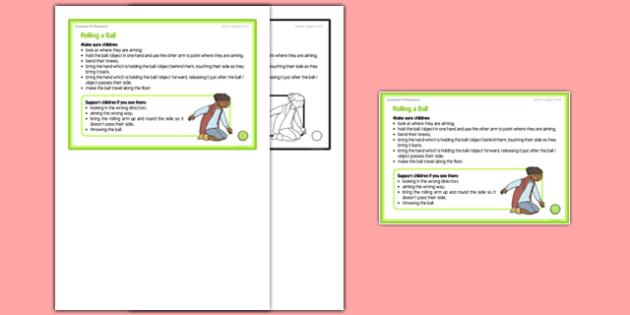 Foundation PE (Reception) Rolling a Ball Teacher Support Card - EYFS, PE, Physical Development, Planning