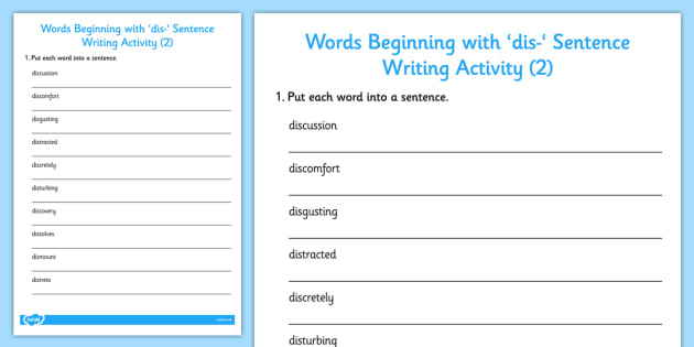 Words Beginning With dis- Sentence Writing Activity 2 - writing