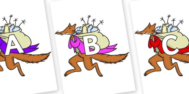 A-Z Alphabet on Mr Fox to Support Teaching on Fantastic Mr Fox - A-Z, A4, display, Alphabet frieze, Display letters, Letter posters, A-Z letters, Alphabet flashcards