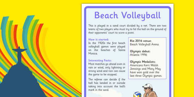 Rio 2016 Olympics Beach Volleyball Facts Display Poster - rio 2016, 2016 olympics, rio olympics, beach volleyball, facts, poster