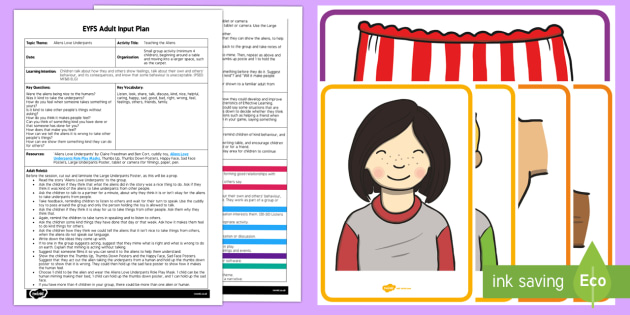 EYFS Teaching the Aliens Adult Input Plan and Resource Pack - EYFS, Aliens Love Underpants, Claire Freedman, Ben Cort, space, planets, activities, psed, technolog