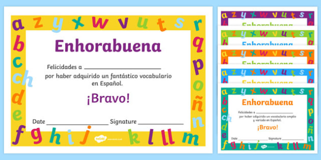 Spanish End of Year Vocabulary Award Certificate
