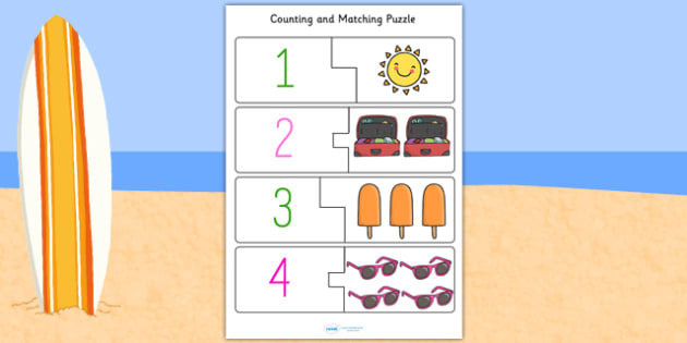 Summer Themed Counting Matching Puzzle - seasons, count, maths