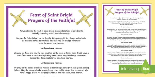 Feast of Saint Brigid Prayers of the Faithful Print-Out