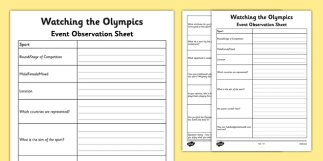 Watching the Olympics Event Observation Sheet - olympics homework, observation, rules of the game