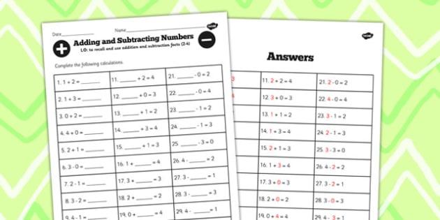 Number Facts Worksheet 2-4 - number, facts, worksheet, 2, 4, math