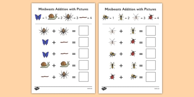 Minibeasts Themed Addition with Pictures Activity Sheet Pack - themed, addition, pictures, activity, sheets, minibeasts, worksheet