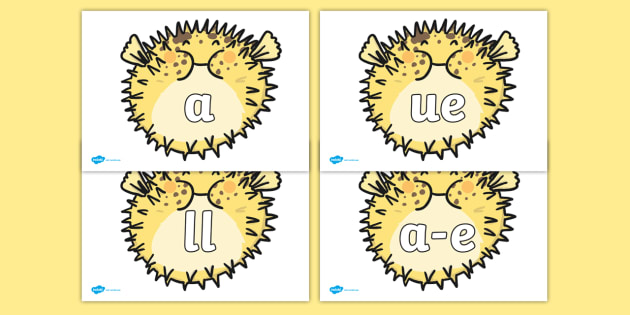 Phoneme Set on Puffer Fish - Phoneme set, phonemes, phoneme, Letters and Sounds, DfES, display, Phase 1, Phase 2, Phase 3, Phase 5, Foundation, Literacy