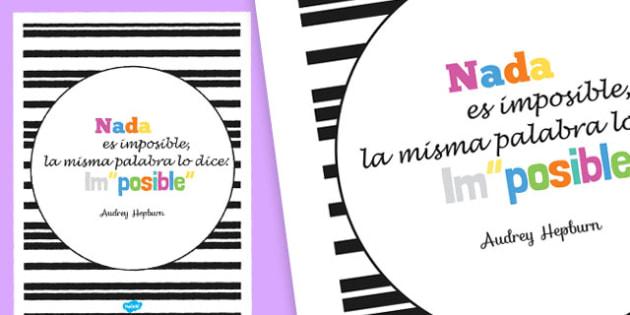 Nada es imposible Motivational Poster Spanish-Spanish