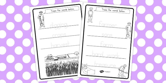 The Farmer and His Sons Trace the Words Worksheets - tracing