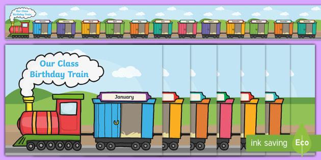 Birthday Train Display Pack - birthday, birthday chart, display, train, birthdays, months, moths of the year, KS1, EYFS, Y1, Y2