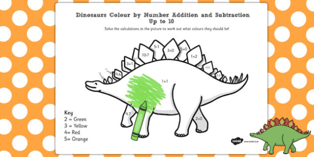 Dinosaurs Colour by Number Addition and Subtraction Up to 10