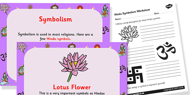 Symbolism in Hinduism PowerPoint and Worksheet Pack - hinduism, hinduism powerpoint, hinduism worksheet, hinduism information, KS2 Religious Education, RE