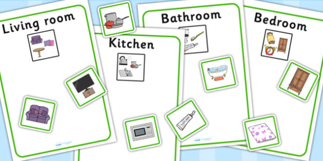Kitchen Bedroom Bathroom And Living Room Sorting Activity