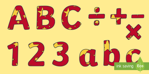 Red and Yellow Stars Lowercase Display Lettering - Red and Yellow Stars, Stars Display Lettering, Lowercase Display Lettering, Alphabet Display