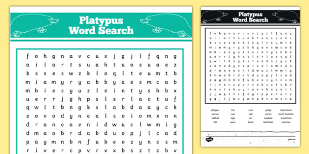 Australian Animals Years 3-6 Platypus Word Search - australia, Australian Curriculum, animals, mammals, platypus, activity, wordsearch