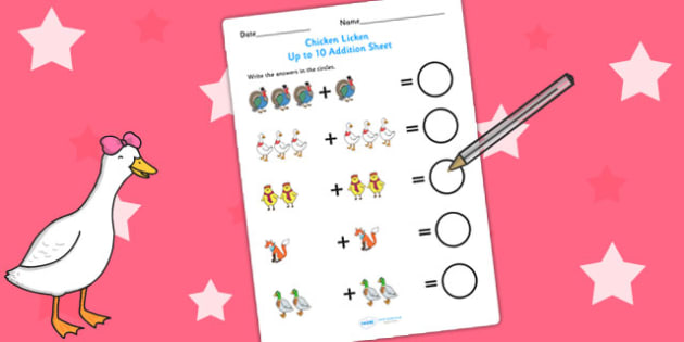 Chicken Licken Up to 10 Addition Sheet - story, adding, numeracy