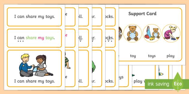 Toys Simple Sentence Cards - reading, sentences, eyfs, word cards, decoding, tricky words, sound button, phoneme, grapheme, phoni