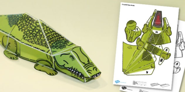 3D Crocodile Paper Model Activity - paper craft, animals, craft, design,
