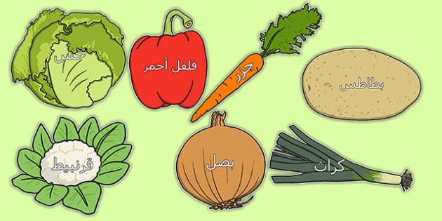 اسماء الخضروات على صور الخضروات - لوحات، وسائل تعليمية