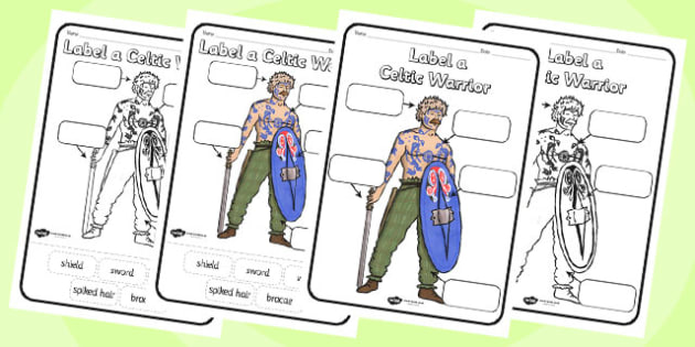Label a Celtic Warrior Worksheet - label a celtic warrior, celts, warrior, celtic warrior, worksheet, celts worksheet, history, history worksheet