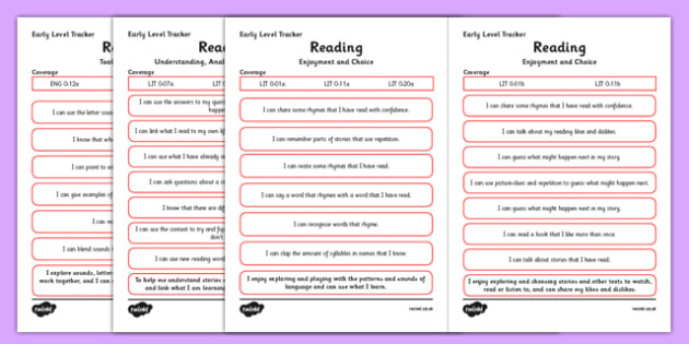 CfE Child Friendly Tracking Early Level Reading - Literacy, English, I Can, Tracking, Visual Pathway
