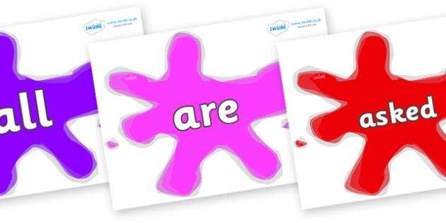 Tricky Words on Splats - Tricky words, DfES Letters and Sounds, Letters and sounds, display, words