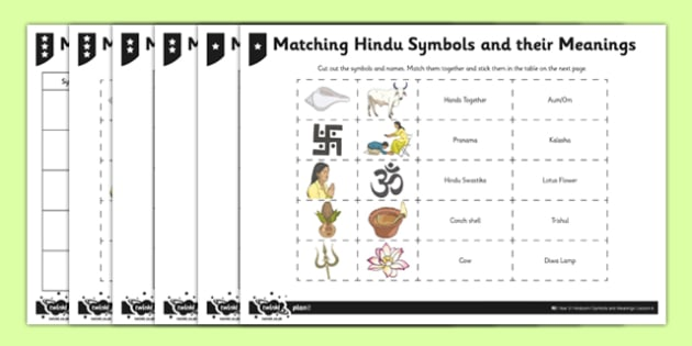 Hinduism Activity Sheet Matching Hindu Symbols and their Meanings - Aum/Om, padma, trishul, pranama, hindu swastika, religion, key stage 2, ks2, RE, religion, worksheet