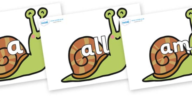 Foundation Stage 2 Keywords on Snails - FS2, CLL, keywords, Communication language and literacy,  Display, Key words, high frequency words, foundation stage literacy, DfES Letters and Sounds, Letters and Sounds, spelling