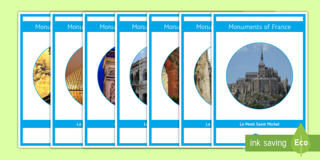 Monuments of France Cut Outs Display Pack French - classroom, organisation, KS3, KS4, poster,French