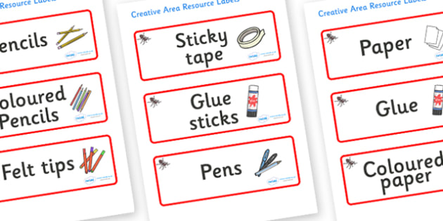 Ant Themed Editable Creative Area Resource Labels - Themed creative resource labels, Label template, Resource Label, Name Labels, Editable Labels, Drawer Labels, KS1 Labels, Foundation Labels, Foundation Stage Labels