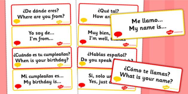Tarjetas de vocabulario - frases básicas en Inglés - lengua extranjera, salutaciones