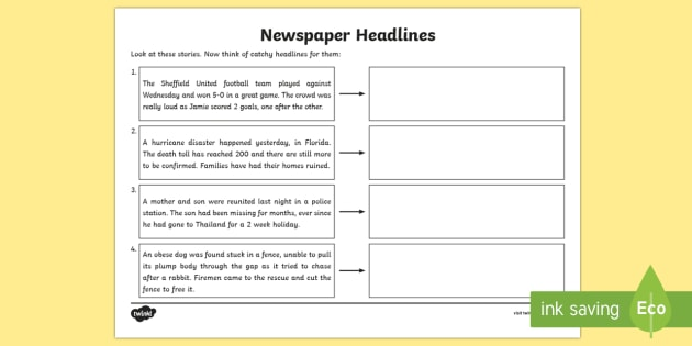 Newspaper Headline Writing Worksheet Higher Ability ...