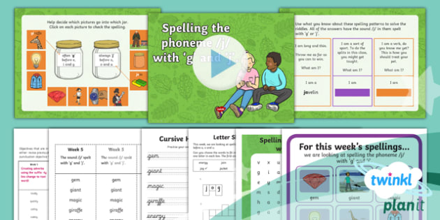 PlanIt Y2 Term 1A W5: 'g' and 'j' Spelling Pack