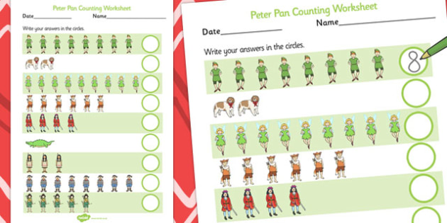 Peter Pan Counting Sheet - count, worksheet, traditional
