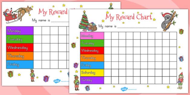 Christmas Themed Reward Chart - australia, christmas, reward