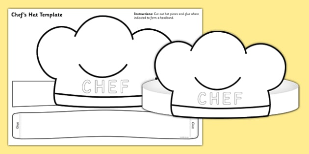 Chef Hat Template   chef hat, template, role play, chef, hat