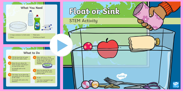 Float or SInk? PowerPoint - Make a splash!, STEM, KS1, Science, Experiment, float, sink.