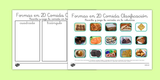 Actividad de clasificar las formas 2D La comida - círculo, cuadrado, características, hexágono, óvalo, categorias, comida, vida real