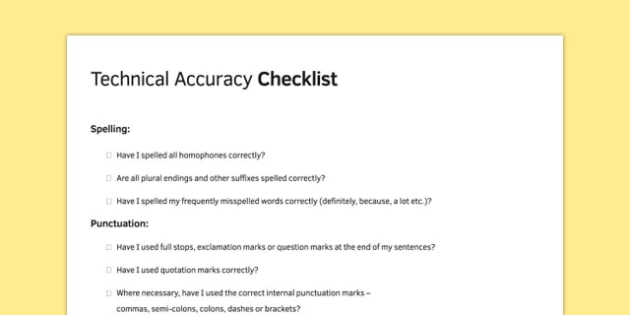 Technical Accuracy in Timed Conditions Technical Accuracy checklist - technical, accuracy, timed, conditions