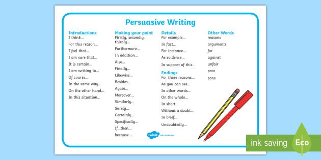 Persuasive Word Mat - persuasive, literacy, writing aid, word mat
