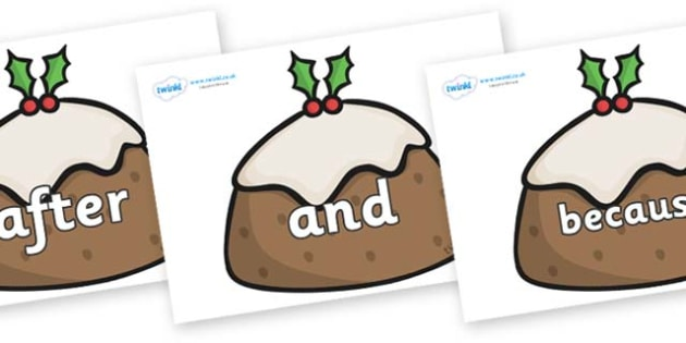 Connectives on Christmas Puddings - Connectives, VCOP, connective resources, connectives display words, connective displays