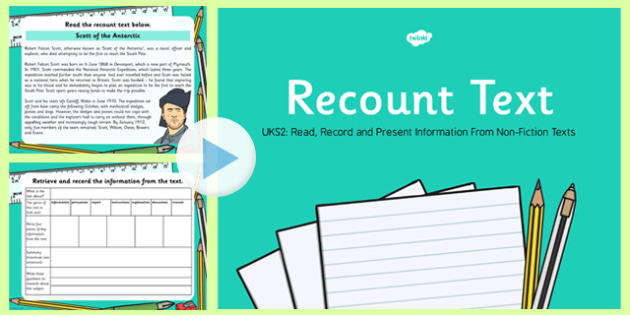 Recount Text Read, Record and Present Information UKS2 PowerPoint