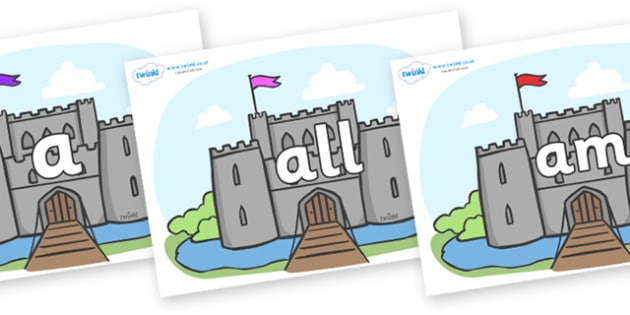 Foundation Stage 2 Keywords on Castles - FS2, CLL, keywords, Communication language and literacy,  Display, Key words, high frequency words, foundation stage literacy, DfES Letters and Sounds, Letters and Sounds, spelling