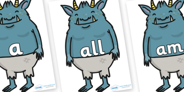 Foundation Stage 2 Keywords on Trolls - FS2, CLL, keywords, Communication language and literacy,  Display, Key words, high frequency words, foundation stage literacy, DfES Letters and Sounds, Letters and Sounds, spelling