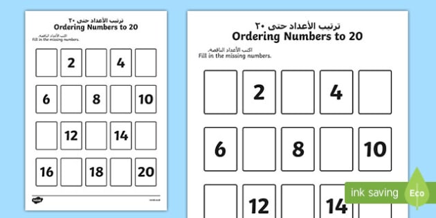 Missing Numbers to 20 Ordering Activity Arabic/English